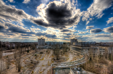 Lenin Square, view from Hotel Polissya in the ghost city of Pripyat near Chernobyl