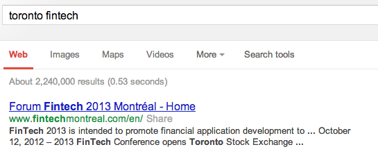 Google Search for Toronto FinTech
