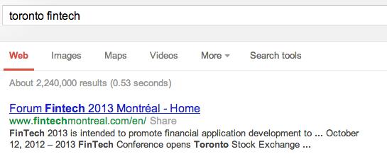 Google Search for Toronto FinTech
